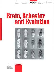 "Cover of the journal ""Brain, Behavior and Evolution"" (2006) Volume 68 Issue 1"