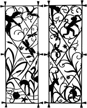 Picture of theWrought-iron gate of the former Institute of Zoology (1889-1992) displaying several entwined animal species