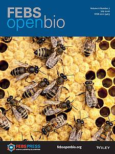 "Cover of the journal ""FEBS Open Bio"" (2016) Volume 6 Issue 7"