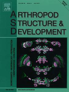 "Cover of the journal ""Arthropod Structure and Development"" (2011) Volume 40 Number 4"